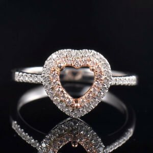 Natural Diamond Semi Mount Engagement Halo Ring Settings Heart Cut 6mm 14K Gold