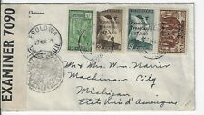 Cameroon 1941 censored cvr EBOLOWA to Mackinaw City MI Sc#182,261,263,271 (s230