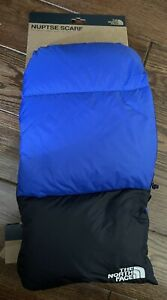 NEW The North Face Unisex Nuptse 700 Fill Down Scarf - Black & Blue - One Size