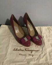New Auth Salvatore Ferragamo Carla Vara Bow Logo Women Heels Pumps Shoes 7 $650