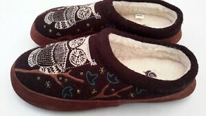 Acorn Womens 8-9 Wool Owl Slippers  Embroidered Slides Scuffs Pre-owned