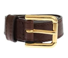 NEW $200 DOLCE & GABBANA Brown Leather Gold Buckle Logo Belt s. IT46/85cm/34in