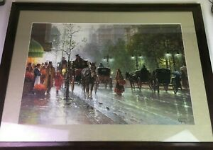 CABBIES ON 5TH AVENUE by G Harvey Litho Signed Numbered Print Framed and Matted