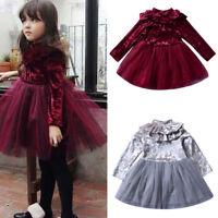 Toddler Kids Baby Girl Winter Long Sleeves Ruffles Solid Dress Children Clothing