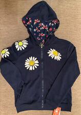 Girls Full Zip Hoodie Lightweight Jacket Navy Blue 7 8 10 w/ Pockets & Hood