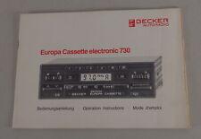 Manual Becker Autorradio Europa Cassette Electrónica 730 De 7/1984