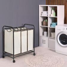 3-Bag Laundry Sorter Cart Laundry Hamper Sorter Heavy Duty Rolling Wheels White