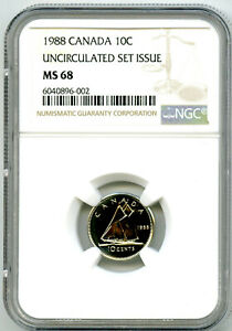 1988 CANADA 10 CENT NGC MS68 UNCIRCULATED SET ISSUE DIME COIN POP=4 RARE