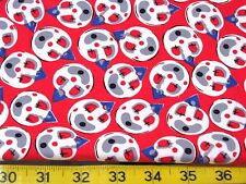 "10 YARDS RED CLOWN FACE POLKA DOTS 100% COTTON  FABRIC 44"" THOMPSON WHOLESALE"