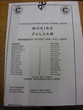 01/08/1996 Woking Reserves v Fulham Reserves  (Single Sheet, Folded). Item appea