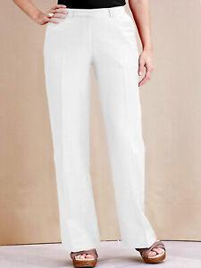 NEW ex Joanna Hope WHITE Linen Blend Leg Skimming Trousers size 14
