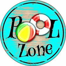 "Pool Zone 12"" Round Metal Sign Recreation Swimming Fun Novelty Home Wall Decor"