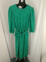 Vintage Alexis Fashions Green Belted Floral Dress