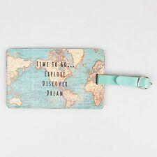 Vintage Mundo MAP TIME para llevar ETIQUETA DE EQUIPAJE Perfecto Para Su viaje.