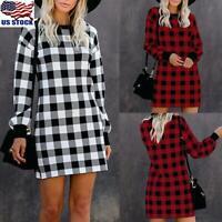 USA Womens Plaid Checked Mini Dress Ladies Long Sleeve Sweatshirt Jumper Dresses