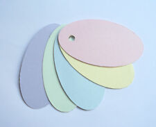 100 SMALL OVAL GIFT TAGS PRICE LABELS MIXED PASTEL