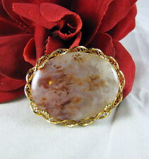 Gorgeous Sorrento 1/20 12k GF Moss Agate Pendant / Pin Brooch CAT RESCUE