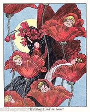 Vintage 1915 MATTED Art DECO / NOUVEAU Childrens Picture Print M.T. ROSS Fantasy