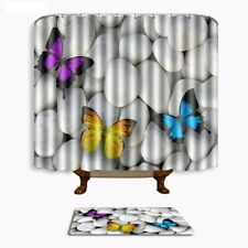 3D Butterfly Shower Curtain Set Bath Mat Bathroom Non-Slip Bathmat