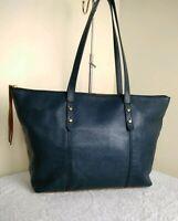 Fossil 1954 Cow Hide Leather Blue Brown Tote Grab Shopper Shoulder Handbag N41