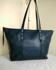 Fossil 1954 Cow Hide Leather Blue Brown Tote Grab Shopper Shoulder Handbag N41