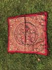 Vintage Tapestry Tablecloth Silk Brocade Fringed Throw Crimson & Gold
