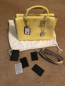 $1100 New MCM Milla Custard Yellow large Leather Tote Bag w/Strap