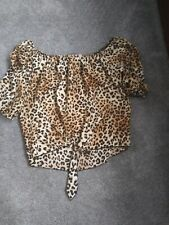 Womens Plus Size 1x Flirty Off the Shoulder Animal Print Tie Front Top