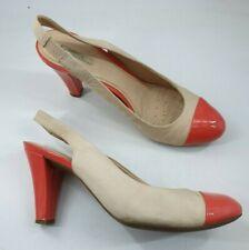 Geox size 6 (39) beige brown / orange leather slingback block heel court shoes