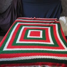 """Queen Size AFGHAN Christmas Colors Red Green White 96"""" x 82"""" Homemade Blanket"""