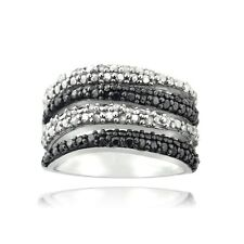 1/2ct Black & White Diamond Wave Silver Tone Band Ring