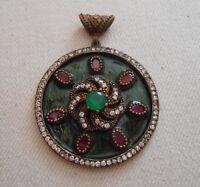 Sterling Silver Brass Detail Enamel Garnet & Emerald Baroque Pendant  751114