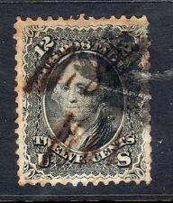 Sc# 90 E grill 12c black used ink date 10 8 1868 double transfer at bottom F-VF