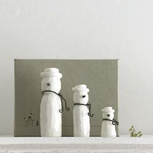 3 Porcelain Snowmen Christmas Home Decoration | Ornament Keepsake Boxed Gift