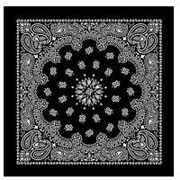 100% Cotton Black Bandana Scarf Extra Large White Paisley Headscarf 27 inch squa