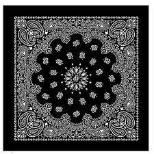100% Cotton Black Bandana Scarf White Western Paisley Headscarf 22 inch square