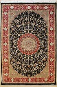 Rugstc 4.5x7 Senneh Pak Persian Black  Rug, Hand-Knotted,Floral with Silk/Wool