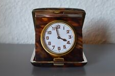Antique, Rare Folding Travel Clock.Swiss Made.Silver/Faux Tortoiseshell case !??