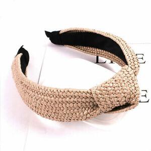 Weaving Hoop Handmade Cross Women Straw Wide Headband Knotted Bohemian Hair Band