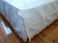 Country Cotton Crochet Lace Paisley Bed Sheet Valance Pillowcases Set KING Size
