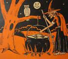 Halloween Witch Pot Owl Moon Orange and Black  vintage art