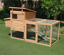 """73.5"""" Deluxe Wooden Chicken Coop Hen Poultry Pet Cage W/ Run Nesting Box Tray"""