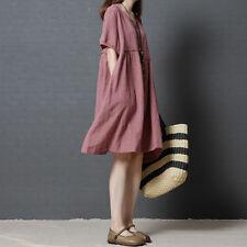 Women Summer Cotton Linen Casual Loose Dress Beach Oversized Tunic Shirt Dresses