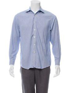 Men's Pinstriped Button Up MICHAEL KORS Dress Shirt L 15 1/2 32/33 Slim Fit