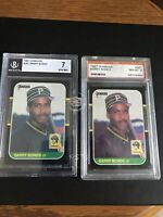 Barry Bonds 2-card lot 1987 Donruss 1) BGS 7 Near MT 1) PSA 8 NM-MT Pittsburgh