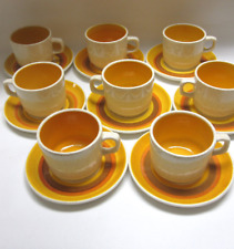Stangl Pottery Sun Pebbles Hand Painted Set of 8 Coffee Cups Mugs Saucers