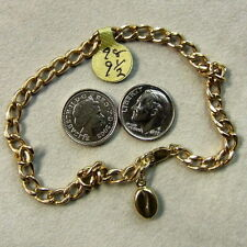 9 ct GOLD second hand hollow curb ankle bracelet & coffee bean