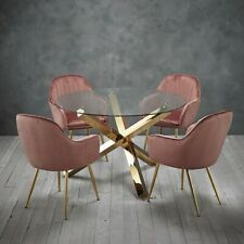 Round Glass Dining Table with Gold Legs and Four Pink Velvet Chairs 120cm