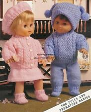 (400) DK KNITTING PATTERN DOLLS PREMATURE BABY GIRL BOY CUTE CABLE OUTFITS