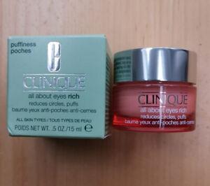 Clinique ALL ABOUT EYES Eye Cream Jar Reduces Dark Circles/Puffs 15ml FULL SIZE